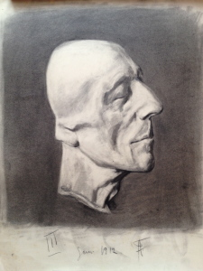 Fritz Ascher_Death Mask Friedrich the Great_1912_Graphite on paper_19.5 x 15.4 in._49.6 x 39.2 cm_Signed on lower border in graphite_III Jan 1912 FA_Private collection