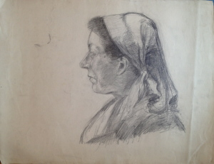 Fritz Ascher_Female Portrait with Headscarf in Profile_ca 1912_Graphite on paper_18 x 23 in_46 x 59 cm_Private collection