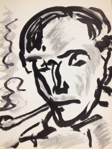 Fritz Ascher_Portrait of Max Pechstein_ca 1963_Black ink on paper_15.2 x 11.2 in_39.7 x 29.6 cm_Private collection