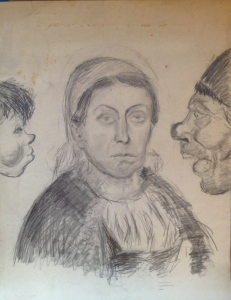 Fritz Ascher_Portraits of Frontal Female Between Two Males in Profile_ca 1912_Graphite on paper_23 x 18 in_59 x 46.1 cm_Private collection