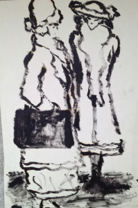 Fritz Ascher_Two Women_ca 1911_Oilstick on paper_11 x 7 in_28 x 18 cm_Private collection
