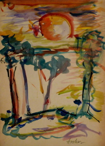 FritzAscher_LandscapewithTreesandSun_ca1958_Watercoloronpaper_27x19.5in_68.5x49.5cm_Signedingraphiteonlowerright_Ascher_Privatecollection